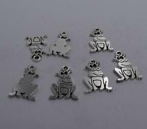 4pcs-Antique-silver-plated-nice-little-frog-charm-pendant-T0612