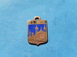 Vintage Enamel french Travel Shield Charms FOURVIERE LYON BASILICA  BLUE VTUSA
