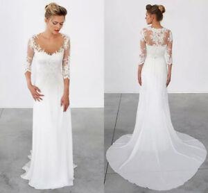 Beach Wedding Dresses Vintage Wedding Gowns Bohemian Chiffon Lace ...