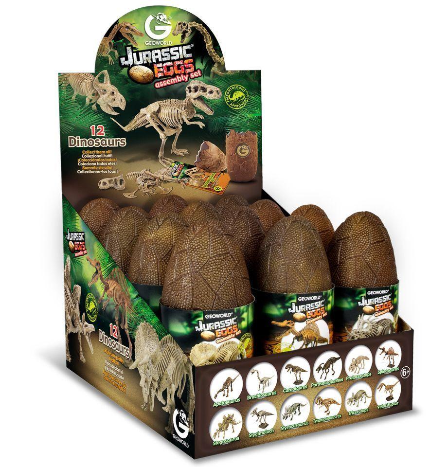 Geoworld Jurassic Eggs Miniatur Dinosaurier Urzeit Skelett im Ei -> 12er SET