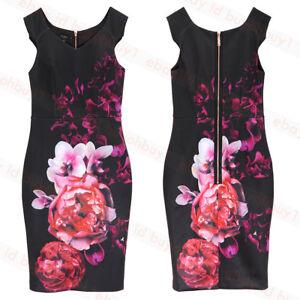 71e040532 Image is loading New-Ted-Baker-Semanj-Bodycon-Dress-Black-Floral