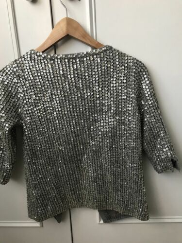 Moss Kate Jacket Evening Sequin 8 Taglia Topshop Cardigan Silver gpwBCwqx