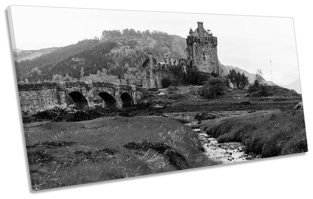Eilean Donan Castle B&W Picture PANORAMIC CANVAS WALL ART Print