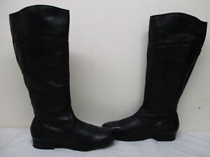 Arturo Chiang Cosmow Black Leather Zip Knee High Boots