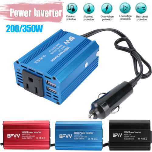 200W-350W Power Inverter for Car DC 12V to AC 110V Outlet 2 USB Adapter Charger