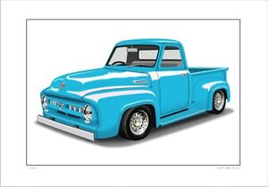 Ford 53 F100 Pick Up Truck Limited Edition Car Drawing Print 5 Car