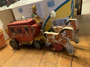 Vintage-Fisher-Price-175-Wood-Pull-Toy-Gold-Star-Line-STAGECOACH-1954