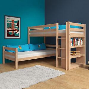 etagenbett stockbett natur inkl b cherregal buche massiv. Black Bedroom Furniture Sets. Home Design Ideas