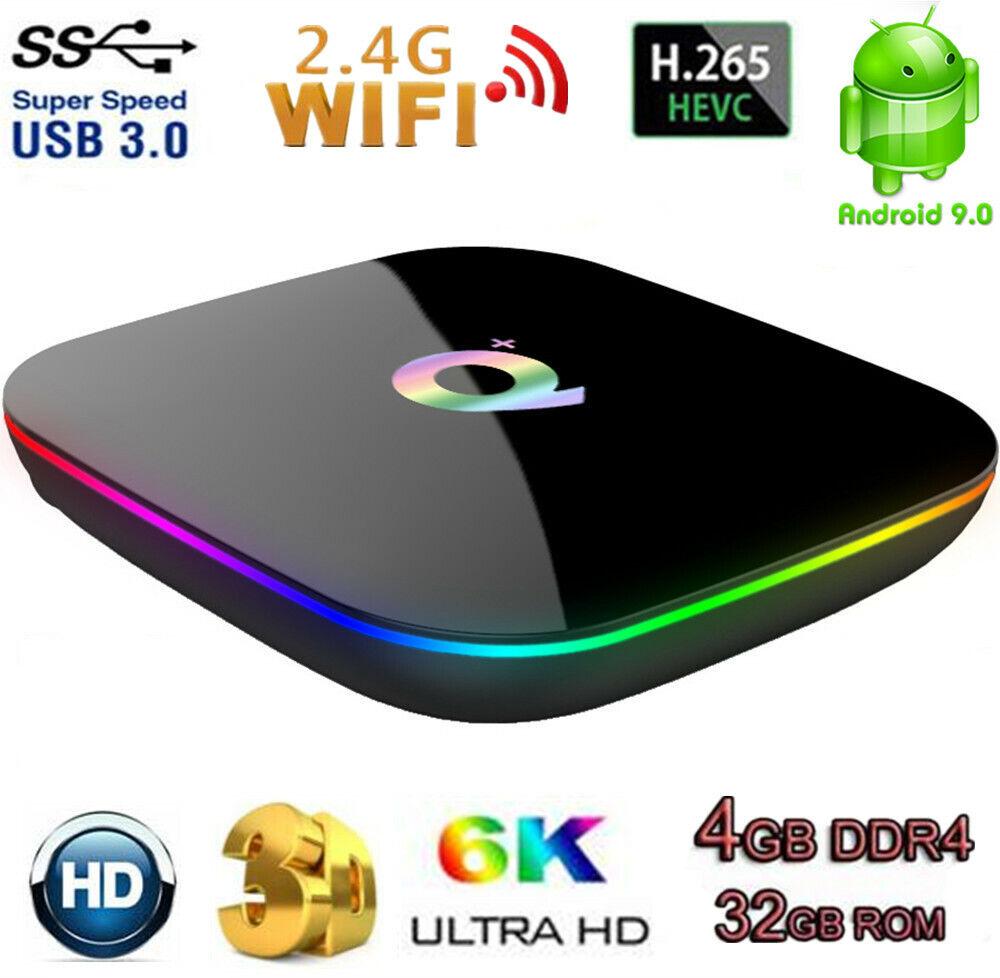 6K Smart Q Plus H6 TV Box Android 9.0 4G+32G WiFi 3D HD Quad Core Media Player android box core media player plus quad smart wifi