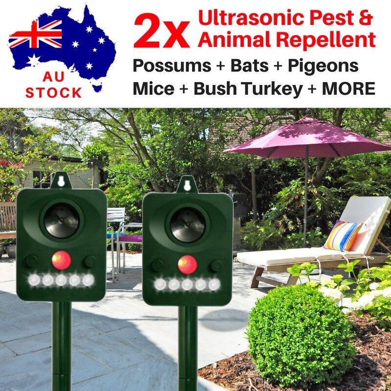TWO Ultrasonic SOLAR POWER POSSUM PIGEON BATS MICE RATS SNAKES PEST REPELLER