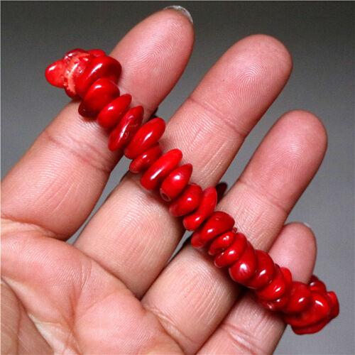 Belle naturel corail rouge Extensible Bracelet Jonc