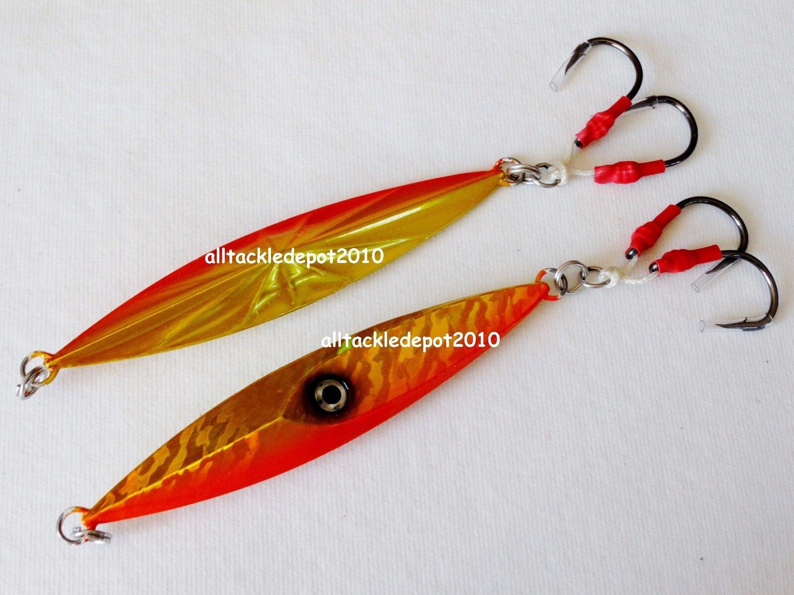 1-10 pcs Jigging Diamond Jigs 7oz 200g orange gold Saltwater Fishing Lures