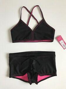 NWT-Girls-Xhiliration-bikini-size-6-6X-black-pink-cute