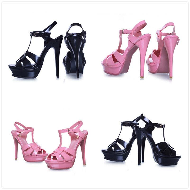 Women Buckle shoes New Slim High Heel Open Toe Clubwear Party Nightclub Summer