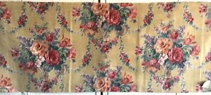 Curtain or French vintage cotton fabric couponimpressionist style d\u00e9cor flower field patternvegetable deco garden Boho chic country