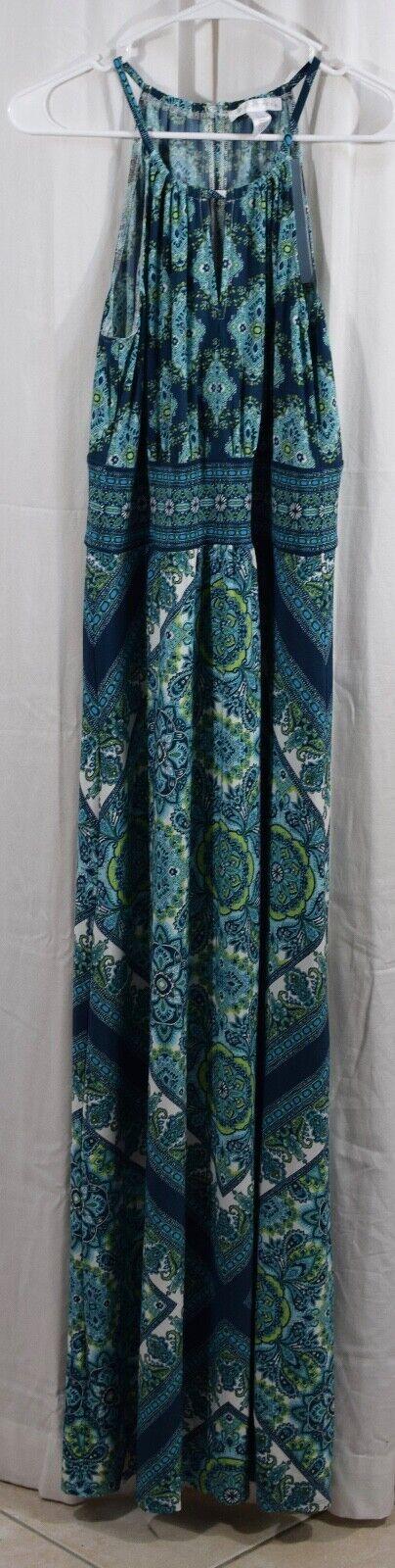 London Times Womens Medallion Print Maxi Dress bluee Size 10