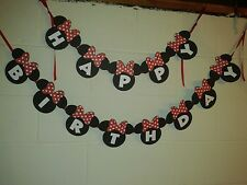 Minnie Mouse Red Birthday Banner Disney Custom Made in USA - FREE SHIPPING