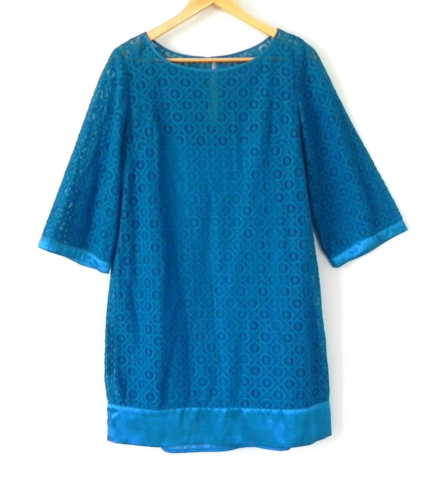 Laundry by Shelli Segal Dress Tunic Lace Turquoise 3 4 Sleeve Size 10