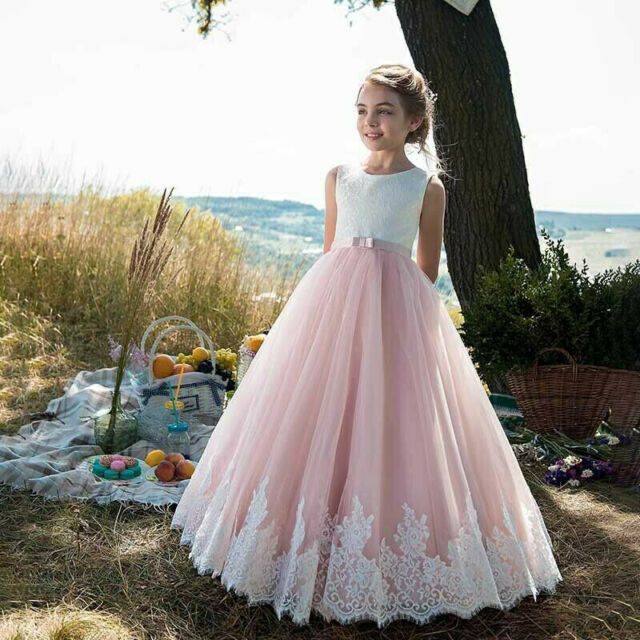 Pink Wedding Flower Girl Dress Holy Communion Party Prom Princess Pageant Dress