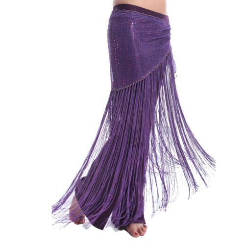 Sequins Long Tassel Belly Dance Belt Hip Scarf Wrap Belly Dance Costume 8 colors