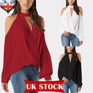 ff0ab89b4a266 UK Womens Ladies Cold Shoulder Choker Neck Boho Blouse T-Shirt Tops ...