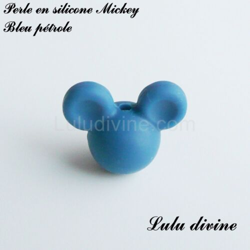 silicone alimentaire Bleu pétrole Perle en silicone ronde Mickey