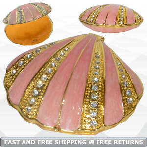 Sea-Scallop-Shell-Trinket-Box-with-Hinged-Lid-Enamel-Bejeweled-Crystals-Souvenir