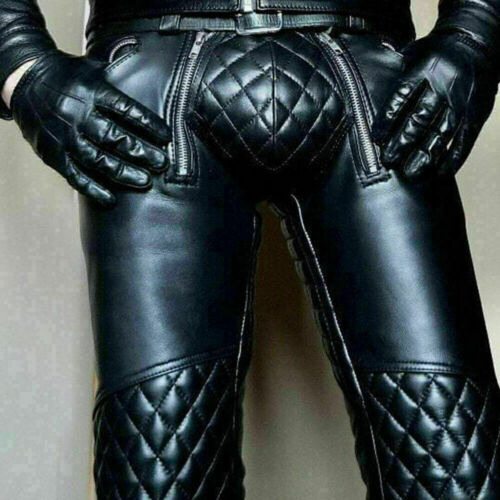 Men/'s Real Cowhide Leather BLUF Pants Bikers Kink Punk Kink Jeans Trousers Pant