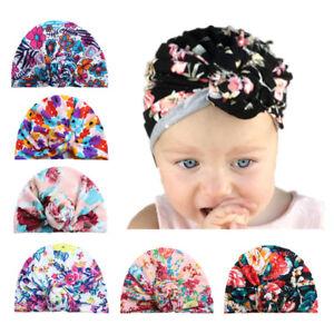 Toddler Kids Baby Girl Turban Cotton Beanie Hat Autumn Winter Warm ... 06b76794d1fc