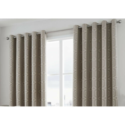 CAMBERWELL Stone Curtina Geometric Jacquard Eyelet Curtain /& Cushions