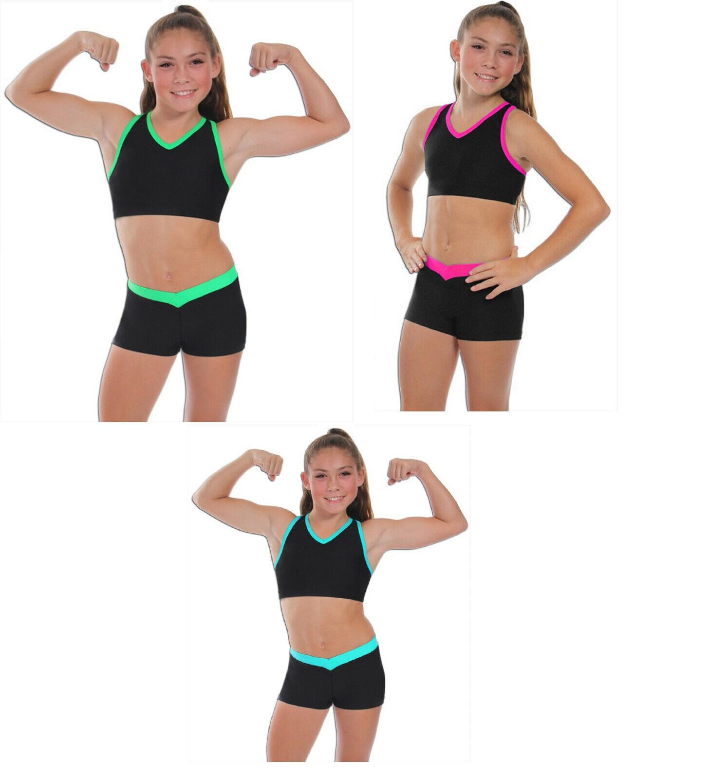 nuevo  cuello en V Gimnasia, Danza, o animar 2 Piezas Set Top Corto  diseño simple y generoso