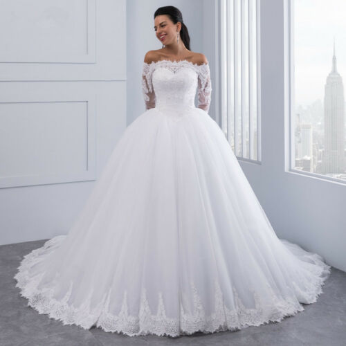 Ball Gown Lace Wedding Dresses Long Sleeves Off Shoulder Tulle Puffy Bride Gowns