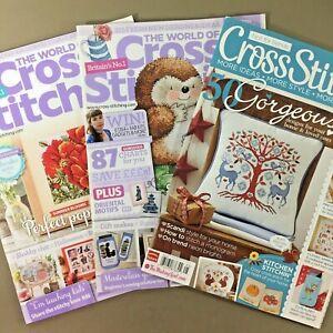 Lot-of-3-UK-Cross-Stitch-Magazines-World-of-Cross-Stitching-Cross-Stitcher