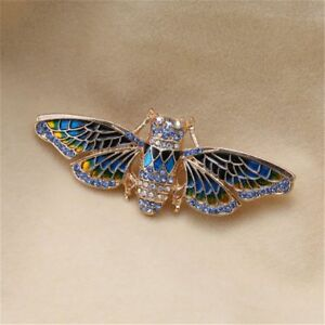 New Fashion Jewelry Cicada Moth Insect Bug Rhinestones Brooch Pin For Women Gift
