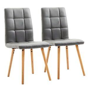 Dettagli su HOMCOM Set 2 Sedie Sala da Pranzo Moderne Imbottite, Legno  45×56×93cm Grigio