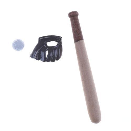 Casa de muñecas en miniatura accesorios Mini Bate De Béisbol /& Guante Set Hogar Accesorio 0cn