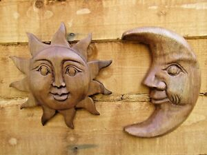 Fair Trade Hand Carved Made Wooden Sun Moon Wall Art