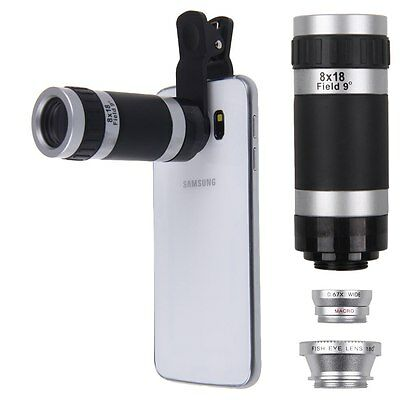 4in1 Fish Eye +Wide Angle Macro +8x Telephoto Lens Kit Camera for iPhone Samsung