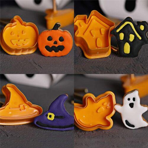 4pcs Halloween Pumpkin Ghost Theme Plastic Cookie Cutter Cake Decorating Tools