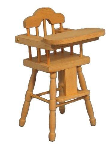 Alto in legno sedia DOLLS HOUSE miniature mobili per nursery sala da pranzo 1.12 TH scala