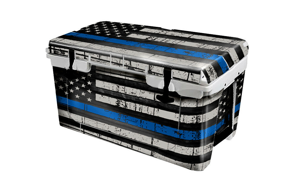 USATuff Cooler Wrap Decal 'Fits New Mold' RTIC 45QT FULL USA bluee Line Flag