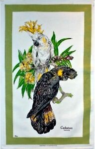 47820b61a483 Image is loading Tea-Towel-Australian-Cockatoo-100-Cotton