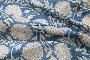 Indian-Cotton-Hand-Block-Voile-Print-Cloth-Floral-Material-Fabric-Running-Dress