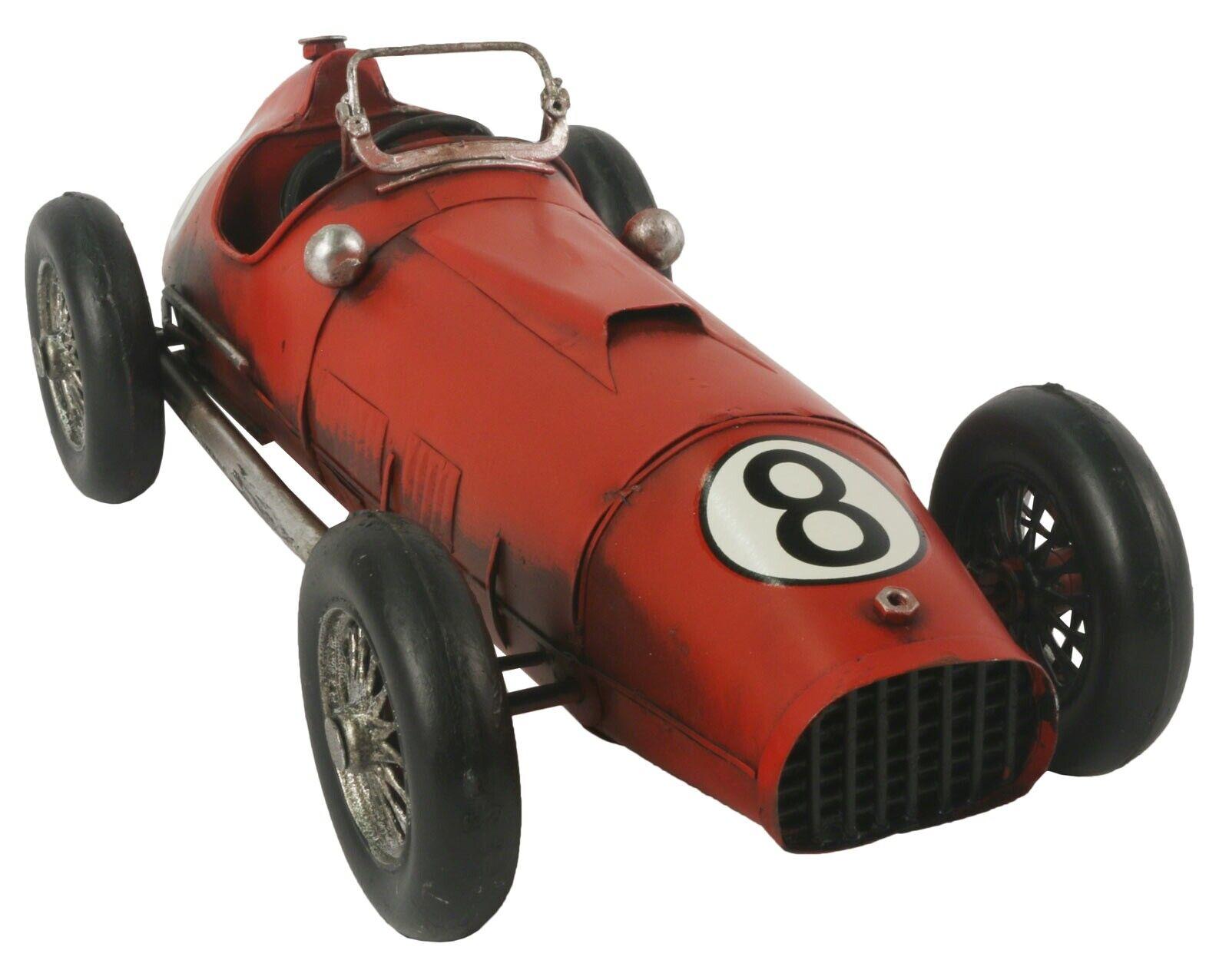 31.5CM VINTAGE RED 1950s RACING CAR NO 8 METAL DECORATIVE MODEL