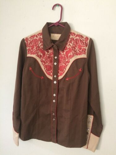 Scully Mens M Brown & Orange Embroidered Rockabill