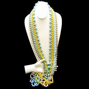 Vintage-Jewelry-Lot-6-Very-Long-Bead-Necklaces-Various-Colors