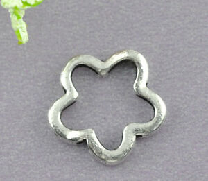 50-Silver-Tone-Flower-Bead-Frames-16mm-Findings