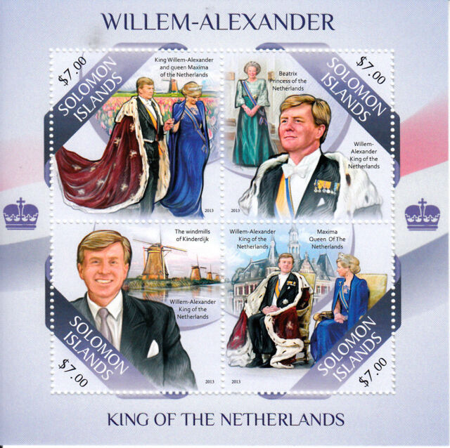 Solomon Islands 2013 MNH King Willem-Alexander Netherlands 4v M/S Beatrix Maxima