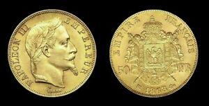COPIE-Piece-plaquee-OR-GOLD-Plated-50-Francs-Napoleon-III-Tete-Lauree-1868-BB