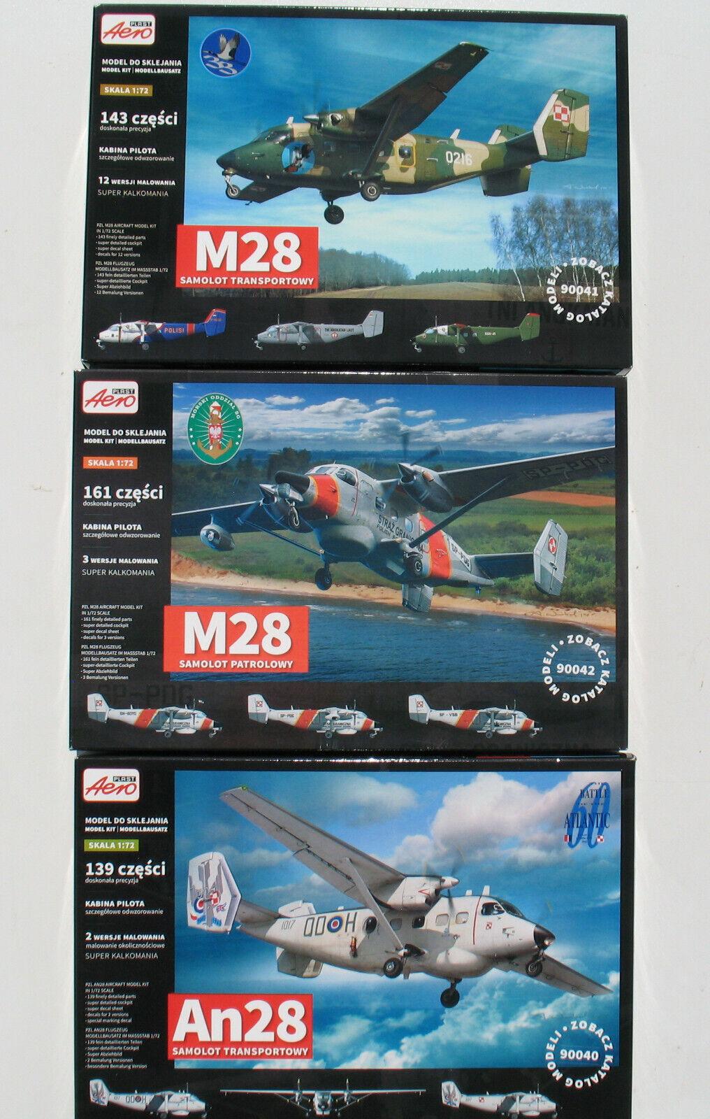 3x AEROPLAST 90040, 90041, 90042 - PLZ M28, An28 - 1 72 - Flugzeug Busatz Kit